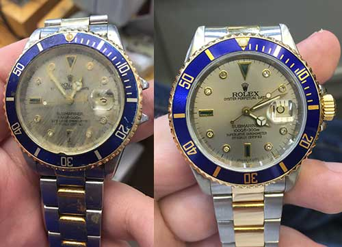 Rolex Submariner restored by the Rolex Doctor.